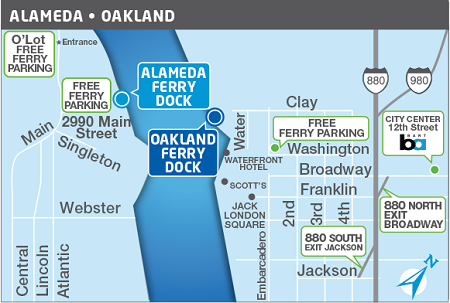 Alameda/Oakland ferry terminals map