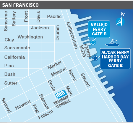 SF Ferry terminal area map