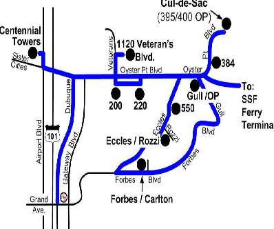 Oyster Point Shuttle Map
