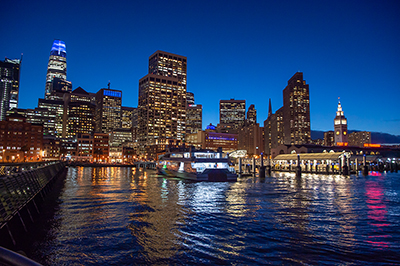 Downtown San Francisco Ferry Terminal At Night