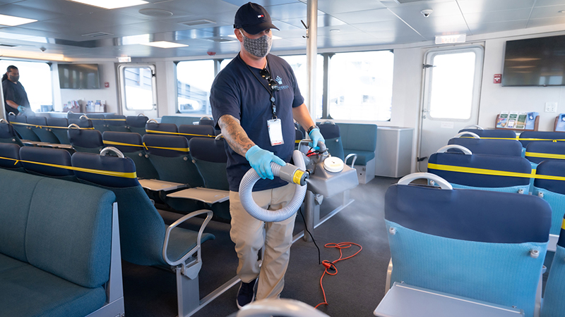 Disinfectant Fogging on Board San Francisco Bay Ferry