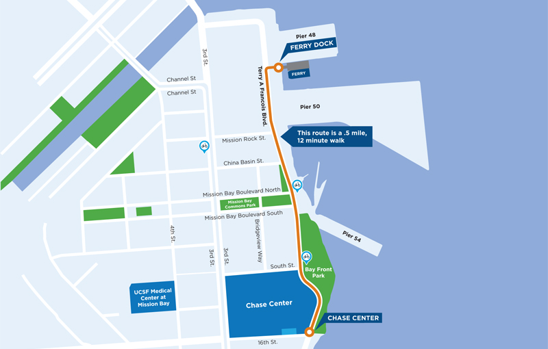 Map from Pier 48 to Chase Center