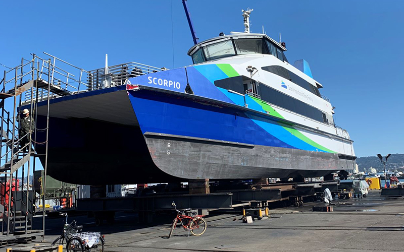 The ferry Scorpio at an Alameda dry dock
