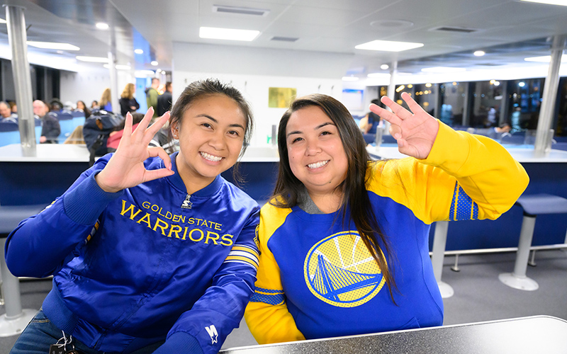 Warriors fans on San Francisco Bay Ferry